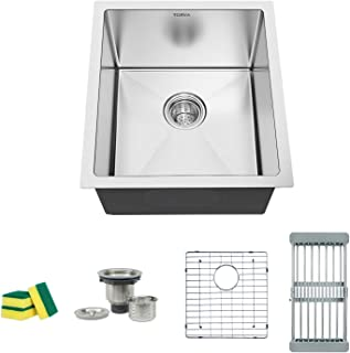 TORVA 15 x 17 Inch Undermount Kitchen Sink, 16 Gauge Stainless Steel Wet Bar or Prep Sinks Single Bowl, Fits 18