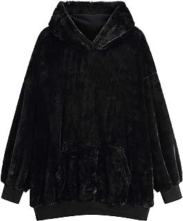 Women's Hooded Sweatshirt Warm Rabbit Faux Fur Up Hoodie Pullover Long Sleeve Tops with Pocket