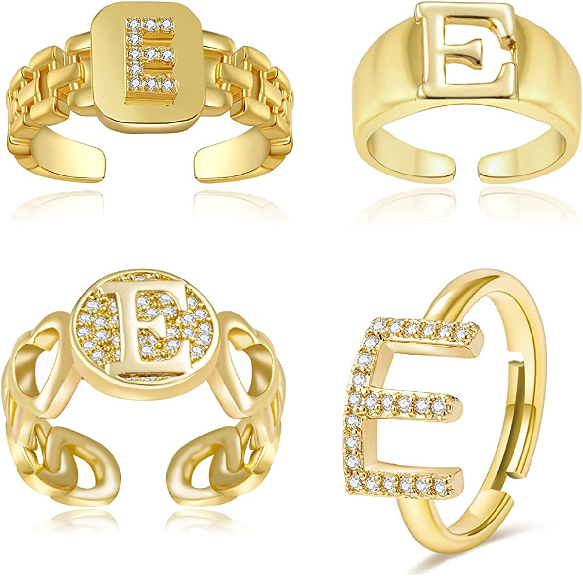 Wowsweet Initial Letter Open Ring Adjustable Statement Rings 14K Gold Plated Alphabet Rings Letter A to Z