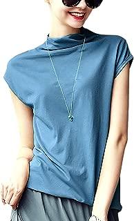 Meow Meow Lace Women's Mock Neck Sleeveless/Long Sleeve Top Tanks Turtleneck Blouse Plain Shirt