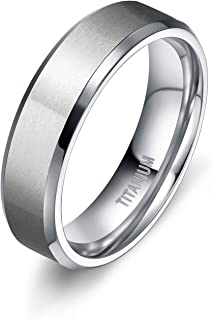 TIGRADE 4MM/6MM/8MM/10MM Unisex Titanium Wedding Band Rings in Comfort Fit Matte Finish for Men Women