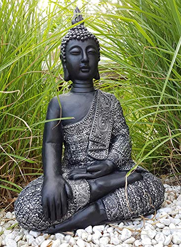 Sitzender Buddha Feng Shui Deko Figur Garten Budha Statue frostfest 45cm Grosse Buddhastatue Silber schwarz