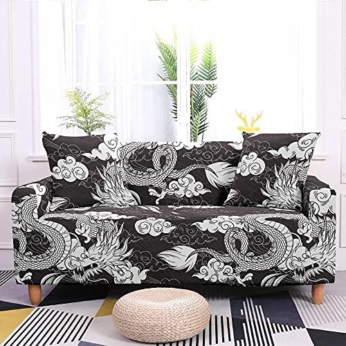 Fundas Sofas 3 y 2 Plazas Ajustables Dragón Blanco Marfil Fundas para Sofa Ajustables Funda Sillon Spandex Lavables Cubre Sofas Chaise Longue Modernas Funda Sofá Universal Fundas de Sofa Espesas