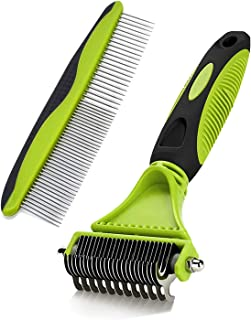 DZPUWAX Grooming Dematting Comb Tool Kit Pet Grooming Tool - 23+12 Double Sided Blade Rake Comb Removes Loose Undercoat, M...