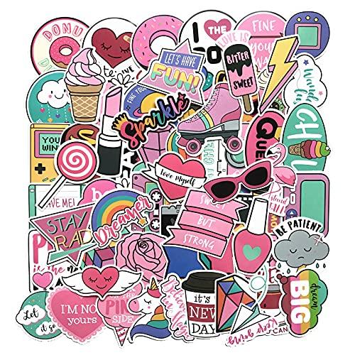 DSSK 61 Uds Lindo Rosa japonés y Coreano bidimensional Chica corazón Maleta Dibujos Animados Graffiti Maleta Coche Cuerpo Pegatina