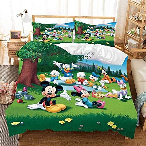 QWAS Juego de ropa de cama de Mickey Minnie Mouse, mullida y suave, de 3 piezas, regalo para niños, de alta calidad, juego de ropa de cama (X01, 220 x 240 cm + 80 x 80 cm x 2)