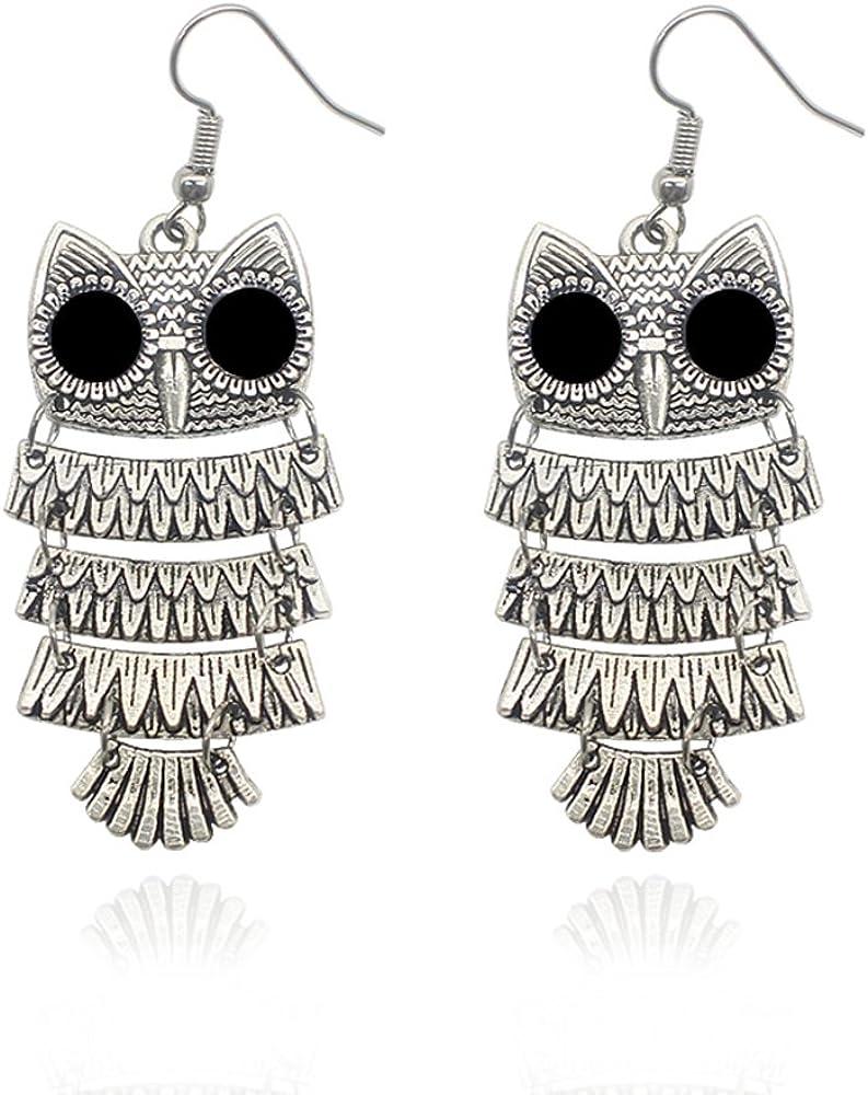 AOCHEE Vintage Retro Big Eyes Owl Necklace Hoop Dangle Earring