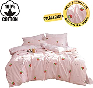 XUKEJU 100% Cotton Bedding Bedroom 3 pcs Sets with 2 Envelope Pillowcase, Soft Duvet Cover for Kids/Teens/Adults Hidden Zipper Quilt Cover Printed Strawberry Full/Queen