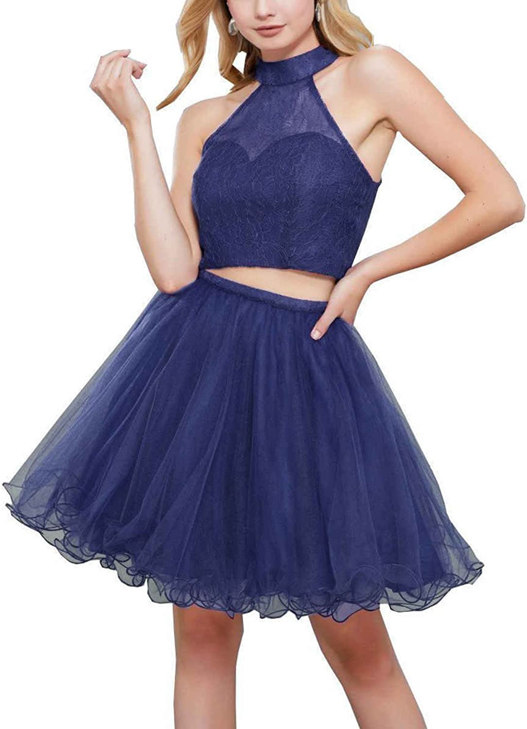 LastBridal Women Halter Tulle Two Piece Short Prom Homecoming Dresses for Juniors Formal Party Gown LB0189 bluee