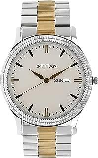 Titan Men's White Dial Stainless Steel Band Watch - 1650BM01