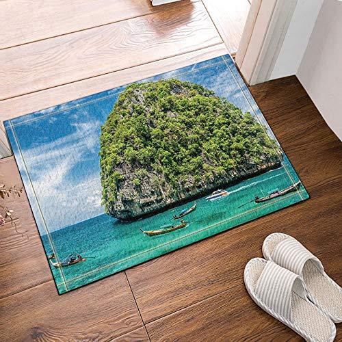 SHUHUI Ducha y colchonetas náuticas,árboles en la montaña con Barcos para Vacaciones,océano Azul,Franela Durable para baños