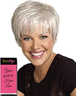 Renew Wig Color G56+ Sugared Silver - Gabor Wigs Short Classic Boy Cut Tapered Layering Personal Fit Capless Flexlite Synthetic Fiber Bundle with MaxWigs Hairloss Booklet