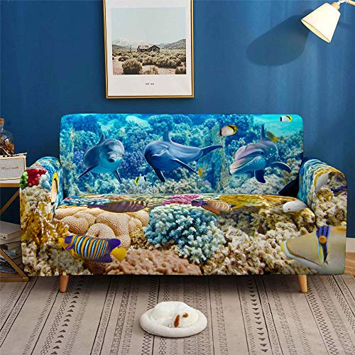 HXTSWGS Fundas Cojines de Sofa,3D Print Dolphin Sofa Cover, Stretch Slipcovers, Sectional Elastic Sofa Cover for Living Room Couch Cove-SGW003_1-Seat 90-140cm