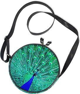 Emoya Runde Tasche mit blauem Pfauenmotiv, aus Segeltuch, Crossbody-Tasche für Damen/Mädchen