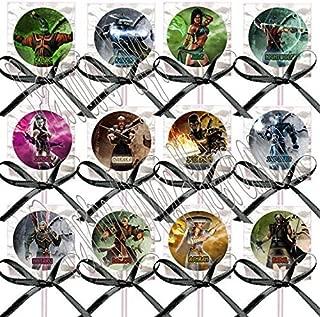 Mortal Kombat Party Favors Supplies Decorations Video Game Lollipops Suckers with Black Ribbon Bows Favors -12 pcs
