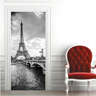 Poster de Porte Stickers muraux Salon Porte Chambre Salle de Bain Sticker Mural Papier Peint Tour Eiffel Auto-adh/ésif Salon Porte Autocollants 77 x 200 cm