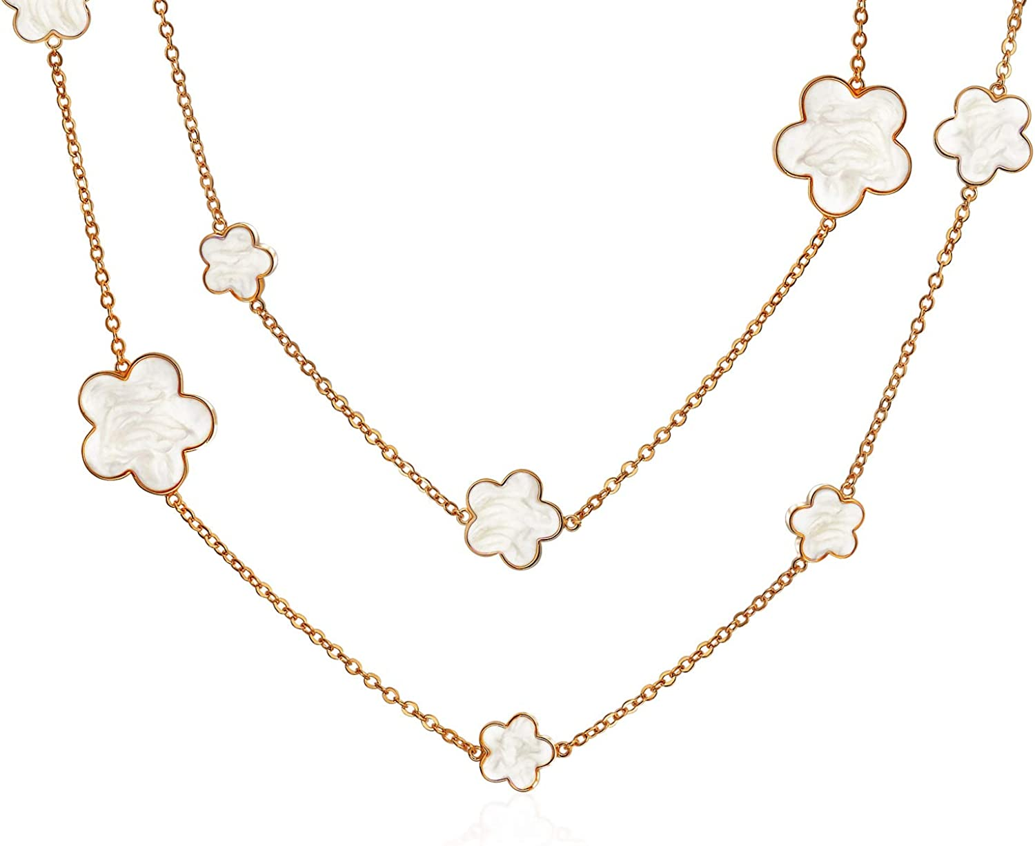 Fashion White Black Enamel Large Flower Long Gold Plated Station Chain Wrap Layer Clover Necklace for Women 40 Inch