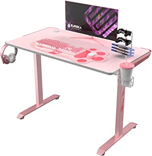 EUREKA ERGONOMIC I1-S Pink Gaming Desk, 45 inch Small Home Office PC Gaming Computer Desk, T-Shaped Writing Study Tables P...