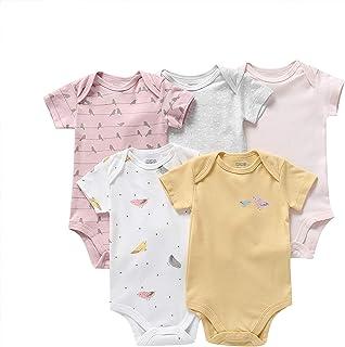 amropi Baby Girls Boys Bodysuit 5-Pack Onesies Short Sleeve Summer Rompers for 0-24 Months