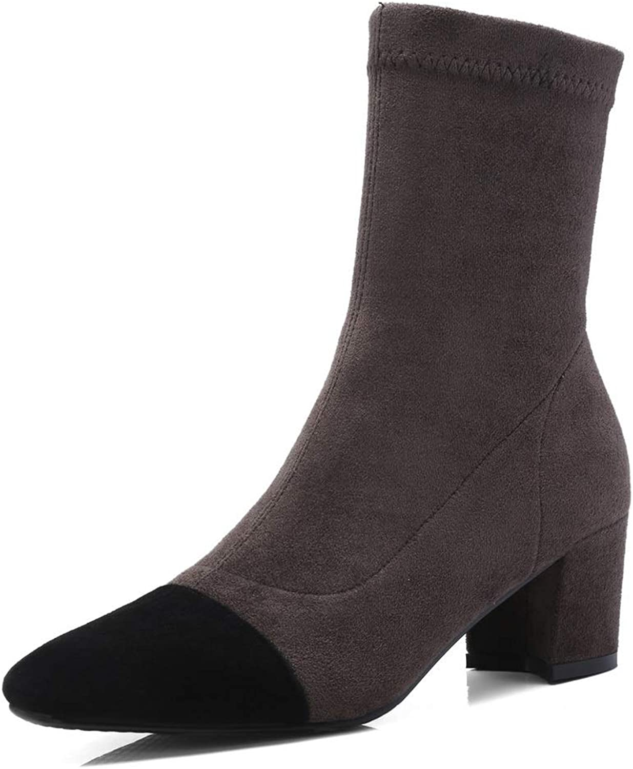 AdeeSu Womens Square Heels Chunky Heels Pointed-Toe Imitated Suede Boots SXE04203