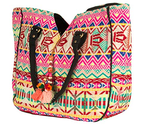 Hippie Handmade Shoulder Tote Bag Boho Red Patchwork Embroidered Pom Pom