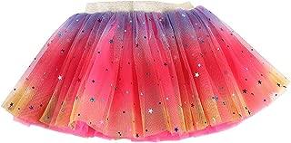 Wiwsi Girls 4 Layered Tulle Rainbow Dancing Tutu, Elastic Puffy Tulle Skirt for Baby
