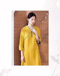 v collar Long Sleeves original modified Chinese dress tea dress Maxi Dress Off turmeric