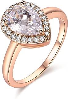 4 Ct Promise Rings Engagement Wedding Teardrop Pear Cut CZ Cubic Zirconia Solitaire Girls Women Size:6-9
