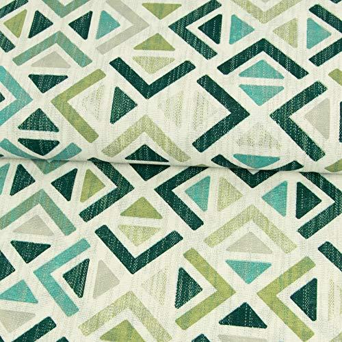 Stoffe Werning Dekostoff Geometrisches Muster grün Canvastoff - Preis Gilt für 0,5 Meter