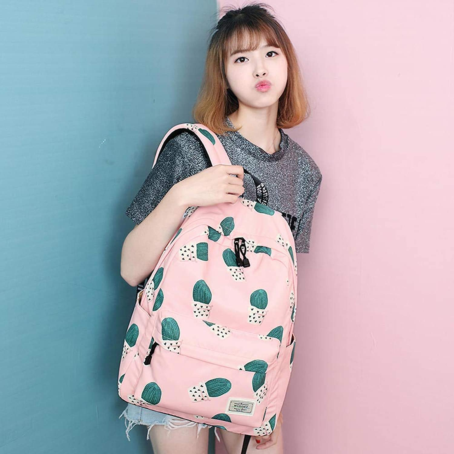 Winner Junior high School Students Printed Bags Girls Large-Capacity Backpack Female Korean Version of The Tide Small Fresh Travel Bag Water-Proof Computer Backpack A969 Pink
