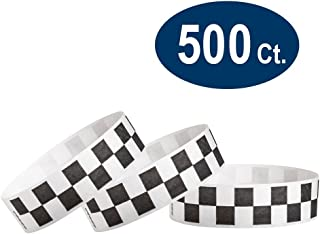 "WristCo Black Checkered/Checks 3/4"" Tyvek Wristbands - 500 Pack Paper Wristbands for Events"