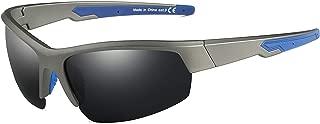 JIM HALO Polarized Sunglasses Semi-rimless Sports Glasses for Baseball Fishing Running Golf Driving