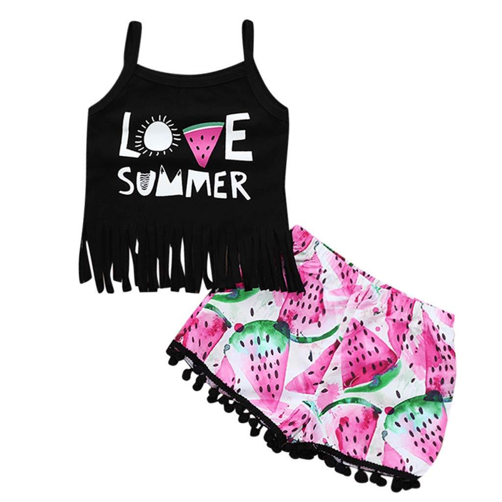 Baby Girls Fashion Clothes Set GoodLock Toddler Kids Sleeveless Letter Print Tassels T Shirt Shorts Outfits 2Pcs Hot!