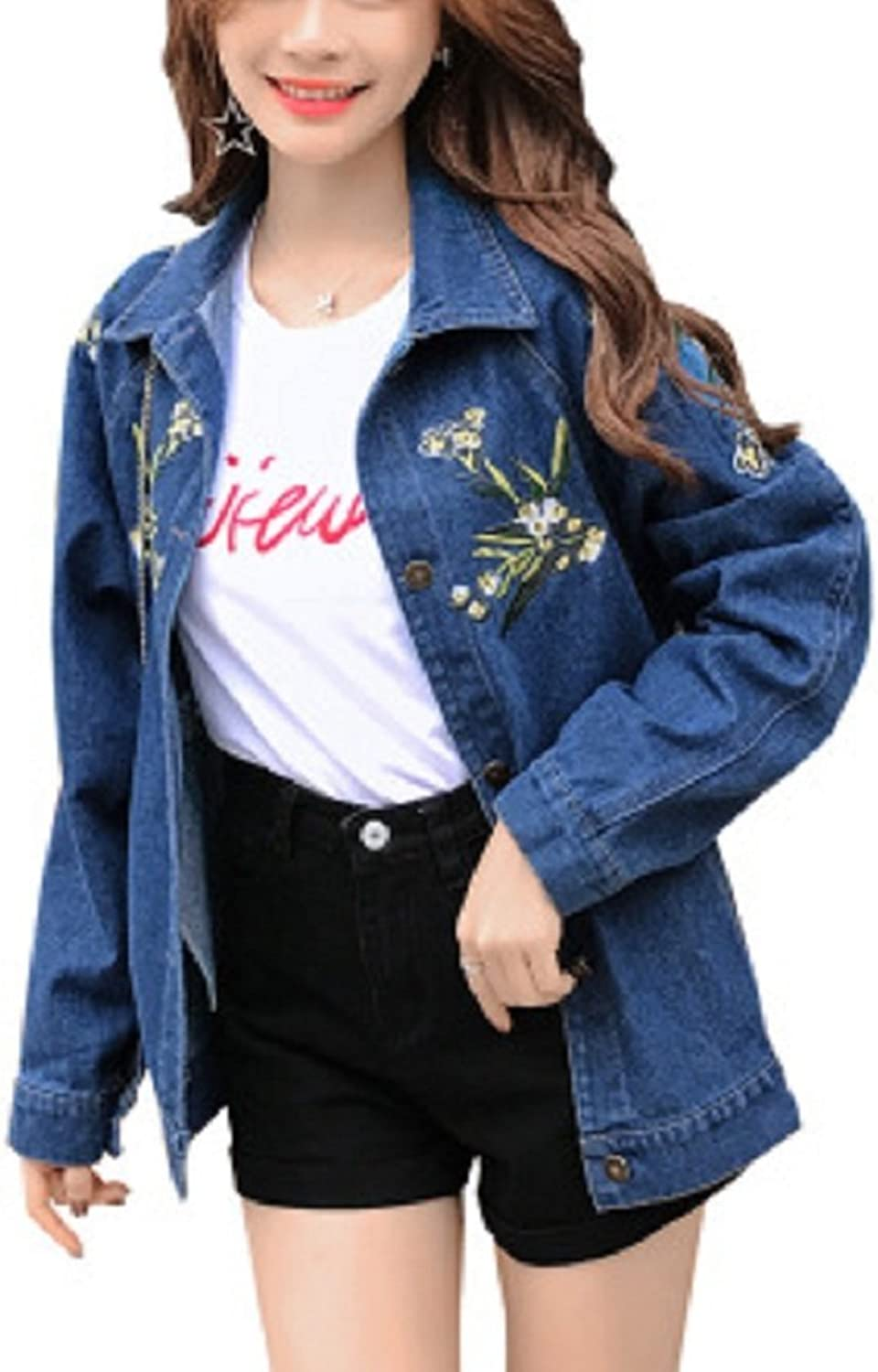 JudyBridal Womens Long Sleeve Coats Button Down Denim Jacket with Embroidery