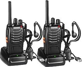 Walkie Talkie Recargable Bidireccional Transmisores-receptores Radio 16 Canales 1500mah CTCSS DCS, con el Auricular Incorporado Antorcha de LED (2PCS)