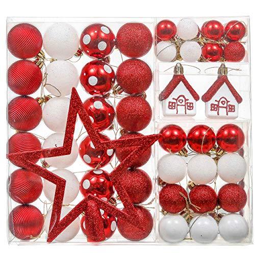 Valery Madelyn Palle di Natale 60 Pezzi di Palline di Natale, 3-5 cm Decorazione Tradizionale Rossa e Bianca Infrangibile con Palle di Natale per la Decorazione Dell'Albero di Natale