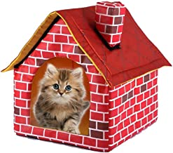 Pet Dog House Cat Bed Portable Brick Outdoor Removable Washable Red Brick Chimney House Kennel Cattery Tent Nest