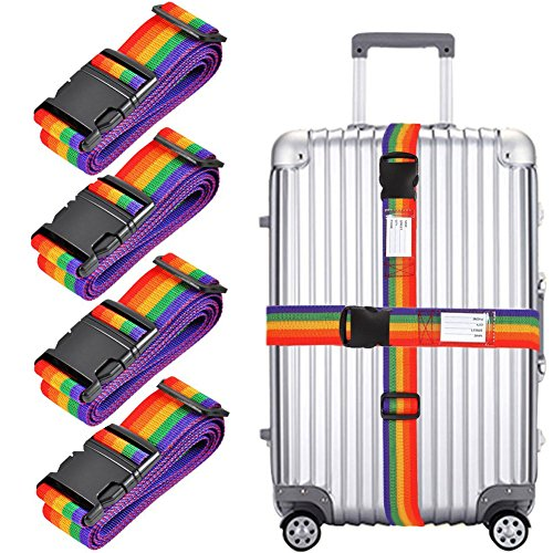 4X Luggage Strap, Adjustable 78' Long Travel Packing Belt Suitcase Baggage Security Straps