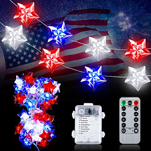 Hortsun 13Ft 40 LEDs USA Star LED String Lights Independence Day Patriotic Star Fairy Light Battery Operated 4th of July LED Lights Decor with Remote for Presidents' Day Independence Day Memorial Day