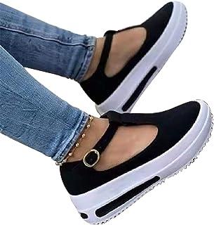 HJXY Zapatos de Plataforma con Correa en T para Mujer, 2021 Primavera Retro Mocasines con Cabeza Redonda Cuñas Sandalias C...