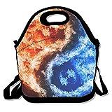 Fuego Hielo Yin Yang almuerzo Tote Bag bolsas Awesome almuerzo caja fiambrera de bolso para la escuela trabajo al aire libre