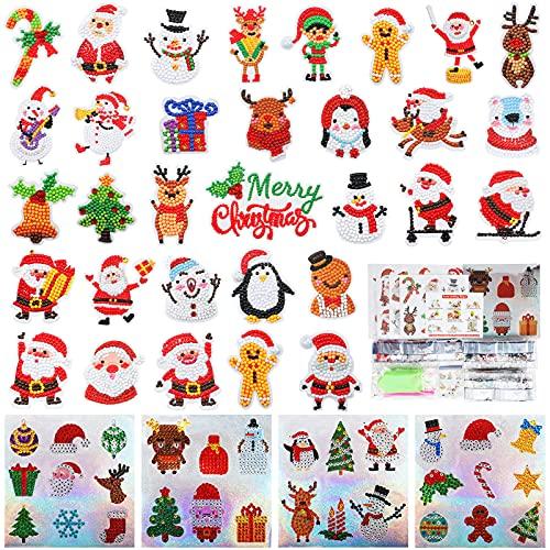 62 Pieces Christmas Diamond Painting Kits Christmas Keychain 5D Christmas Diamond Sticker Christmas Tree Ornaments Rhinestone Arts Craft DIY Santa Claus Decor