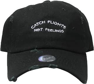 Rob'sTees Custom Catch Flights Not Feelings Black Distressed Twill Cotton Dad Cap Low Profile Adjustable Tumblr Cap Dad Hat