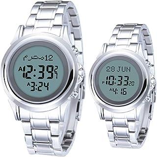 HXZB Couple Musulman Regarder Azan Montre-Bracelet, Calendrier Étanche en Acier Inoxydable Qibla Compass Prayer Montre Num...