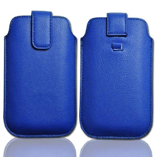 Handy Tasche Etui Hülle Schutz Hülle Leder blau / blue W22 Gr.4 für Nokia Lumia 900 / Huawei Ascend D quad / Huawei Ascend D quad XL / Sony Xperia Ion / Huawei U9200 Ascend P1 / Samsung Galaxy S2 i9210 LTE / Samsung Galaxy Nexus / Base Lutea 2