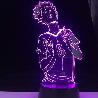 LED 3D Night Light lamp for Boys,Satori Tendo Anime Haikyuu Home Decor Japanese Cartoon Unique Xmas Night Gift