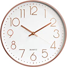 HOIBAI 12 inch Large Wall Clock Silent Non-Ticking Round Modern Clocks Easy to Read Battery Operated for Kids Office Living Room Bedroom Classroom (Rose Gold White)