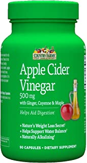 Country Farms Apple Cider Vinegar 500mg, 90 Capsules Each (Pack of 2)