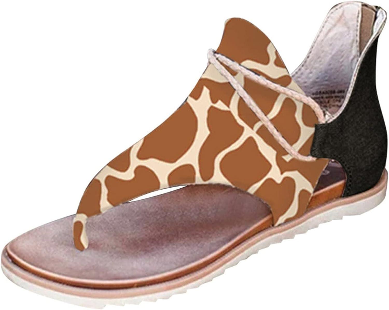 Sandals Direct store for specialty shop Women Summer Clip-Toe Flats Zipper Comfy Shoes Casua