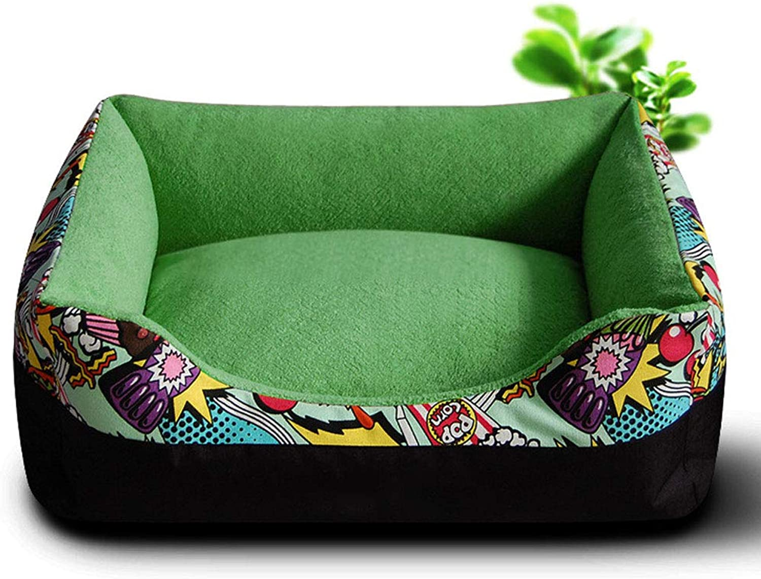 LJM Dog Bed Pet, Bolster Bed Raised Rim Supporting Good Sleep Great Small Medium Dogs (color   Green)